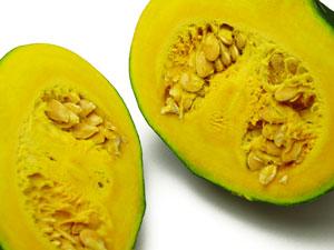無施肥無農薬栽培恋するマロン南瓜(かぼちゃ)カット画像