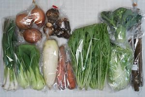 2月7日の無施肥無農薬栽培と自然栽培の定期宅配Mセット/大根、玉ねぎ、里芋、ニンジン、ゴボウ、ブロッコリー、白菜、青梗菜(チンゲン菜)、水菜、ニンニクの葉