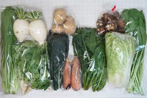 2月11日の無施肥無農薬栽培と自然栽培の定期宅配Mセット/大根、里芋、ニンジン、ブロッコリー、白菜、ほうれん草、壬生菜、大根葉(中抜き葉)、菜の花、ニンニクの葉