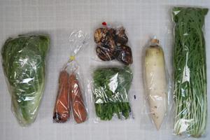 2月11日の無施肥無農薬栽培と自然栽培の定期宅配Sセット/大根、里芋、ニンジン、白菜、水菜、菜の花