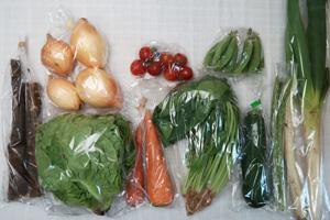5月26日の無施肥無農薬栽培と自然栽培の定期宅配Mセット/ゴボウ、ニンジン、新玉ねぎ、長ネギ、ズッキーニ、スナップエンドウ、アスパラ、サラダ菜、ほうれん草、ミニトマト