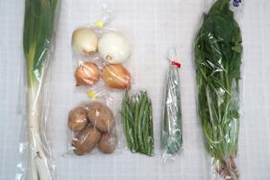 6月2日の無施肥無農薬栽培と自然栽培の定期宅配Sセット/新玉ねぎ、ジャガイモ(西豊)、長ネギ、ズッキーニ、インゲン、ほうれん草