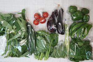 7月10日の無施肥無農薬栽培と自然栽培の定期宅配Mセット/キュウリ、茄子、ピーマン、とうがらし、インゲン、アスパラ、ツルムラサキ、エンサイ(空心菜)、バジル、ミディトマト