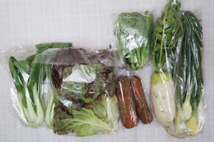 4月2日の無施肥無農薬栽培と自然栽培の定期宅配Sセット/大根、ニンジン、サニーレタス、葉玉ねぎ、青梗菜(チンゲン菜)、菜の花