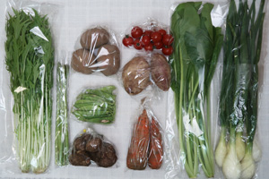 4月6日の無施肥無農薬栽培と自然栽培の定期宅配Mセット/葉玉ねぎ、里芋、ジャガイモ(さやあかね)、サツマイモ、ニンジン、アスパラ、小松菜、水菜、絹さや、ミニトマト