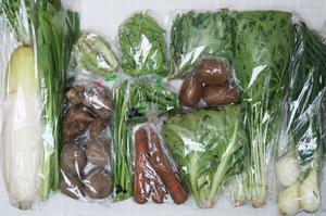 4月16日の無施肥無農薬栽培と自然栽培の定期宅配Lセット/大根、里芋、ジャガイモ(さやあかね)、ニンジン、葉玉ねぎ、アスパラ、ニンニクの芽、絹さや、グリーンピース、スナップエンドウ、チコリー、小松菜、水菜、のらぼう菜、キウイフルーツ