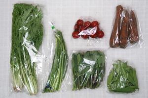 4月16日の無施肥無農薬栽培と自然栽培の定期宅配Sセット/ニンジン、ニンニクの芽、絹さや、水菜、のらぼう菜、ミニトマト