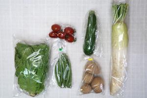 6月1日の無施肥無農薬栽培と自然栽培の定期宅配Sセット/大根、ジャガイモ(西豊)、ズッキーニ、インゲン、サンチュ、ミニトマト