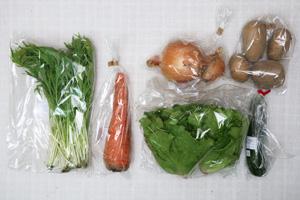 6月8日の無施肥無農薬栽培と自然栽培の定期宅配Sセット/玉ねぎ、ジャガイモ(インカのめざめ)、ニンジン、ズッキーニ、ロメインレタス、水菜