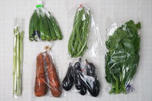 9月7日の無施肥無農薬栽培と自然栽培の定期宅配Sセット/ニンジン、茄子、オクラ、平サヤインゲン、アスパラ、ツルムラサキ